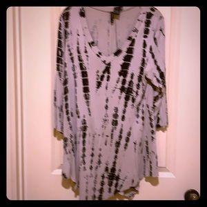 Tie-dye Tunic Tan/Black